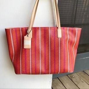 Coach Print Voyage Zipped Tote Bag
